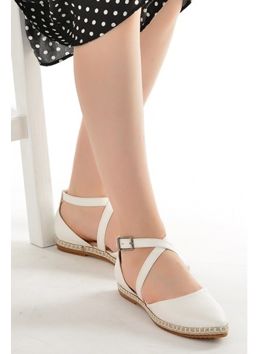 Ayakland 17736 Cilt Günlük Anatomik Kadın Babet Ayakkabı Beyaz